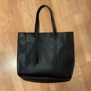 Barneys New York Black Leather Tote Bag